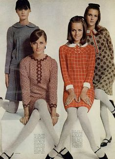 Sewing the 60s: Collars'n'cuffs.  I  made each of these dresses when I was 16.  Mom and I could find polyester for $1/yd. and turn out a dress in 2 days.