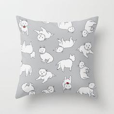 Playful Westies Throw Pillow