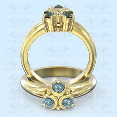 Glorious Custom made Zelda Hyrule Warrior inspired ring with Natural Topaz stones / Silver.925 or Gold 14K made to order