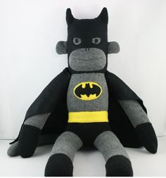 'Batman' the Sock Monkey - **Made to Order** - by YouMakeMeMe on madeit $35