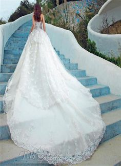 Charming Strapless Floor Length Tiered Lace Wedding Dress