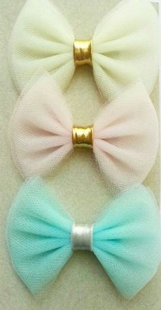 The Jasmine Tulle Bow Headbands or Clips set of 3 - Pick Your Colors- Tulle Bows - Glitter - Pastel - Neon - Polka Dot - Tulle Bows - Tulle Hair Bows, Big Hair Bows, Pink Headbands, Making Hair Bows, Diy Headband, Ribbon Bows, Ribbons, Fancy Bows, Bow Design