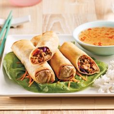 Rouleaux imp Egg Rolls, Thai Recipes, Easy Recipes, Fresh Rolls, Easy Meals, Appetizers, Food And Drink, Lunch, Cooking