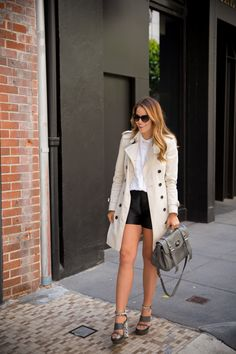 Miu Miu sunglasses, Burberry trench, J Brand top, Kate Spade NY shorts, Mulberry heels, Mulberry bag
