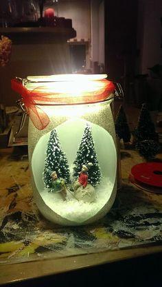 kerstsfeer in glazen pot