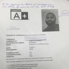 We are proud of our student who has passed compTIA a+ exam .#ASMChangelives For more information to get certified for microsoft, CompTIA A+, Network+, Security+ and Cisco CCNA, CCNP   please go to http://www.asmed.com/information-technology-it/