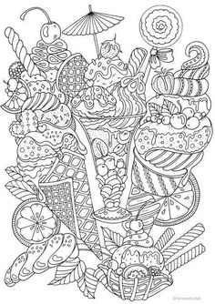 Ice Cream - Printable Adult Coloring Page from Favoreads (Coloring book pages for adults and kids, Coloring sheets, Coloring designs) Ice Cream Coloring Pages, Food Coloring Pages, Printable Adult Coloring Pages, Adult Coloring Book Pages, Coloring Pages For Grown Ups, Mandala Coloring Pages, Free Coloring, Coloring Pages For Kids, Coloring Sheets