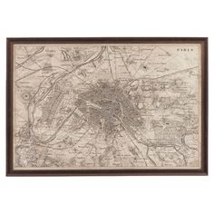 Vintage-inspired framed reproduction map of Paris.    Product: Wall decorConstruction Material: Wood