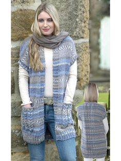 Beautiful yarn and a relaxed design make for a lovely and cozy layer to add to your wardrobe. For both versions, knit with 5 (5, 6, 6, 7) skeins of #5 King Cole Drifter Chunky and U.S. sizes 8/5mm and 10/6mm needles. Finished size to fit bust 32-34 (...