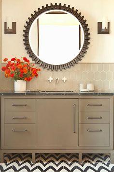Taylor Borsari - bathrooms - tiled floor and backsplash
