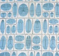"Ray Komei ""Masks"" Textile from the Contempora Series Laverne Originals, designed 1948 Retains label 48"" x 34.5"""