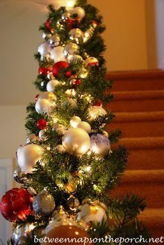 holiday, stair, christmas decorations, christma decor, christma banist, christmas garlands, christmas ideas, christmas trees, diy christmas