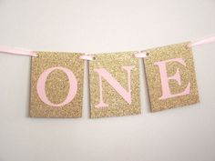 Pink Gold Girl First Birthday Party Pink Gold ONE banner Pink Gold Highchair Decorations Pink Gold Birthday  Onederland Once Upon A Time