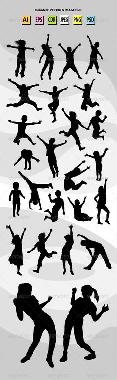 Happy Kid Silhouettes — Photoshop PSD #running #active • Available here → https://graphicriver.net/item/happy-kid-silhouettes/7204748?ref=pxcr
