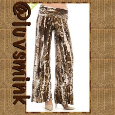 LEOPARD PALAZZO PANTS - LARGE Bring out you inner wild child with these spicy leopard palazzo pants.  Made of a comfy and practical 92/8% Poly/Spandex, with a roll down waist.  Made in USA Length of 33.5 inches allows for those awesome stilettos, or gladiator sandals.  Sizing is S/M/L; please see chart for sizing.  No holds or trades. Price is FIRM unless bundled. This listing is for a size LARGE Curve Ahead Pants Wide Leg