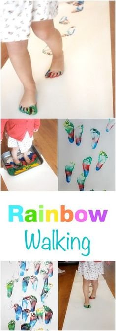 Fantastic activity to do with children of any age! Rainbow walking makes the perfect get your body moving art exercise Fantastic activity to do with children of any age! Rainbow walking makes the perfect get your body moving art exercise Toddlers And Preschoolers, Art Activities For Toddlers, Preschool Art, Toddler Preschool, Toddler Crafts, Kids Crafts, Rainbow Activities, Sensory Activities, Tot School