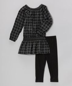 Take a look at this Black Houndstooth Smocked Tunic & Leggings - Toddler & Girls by Girlfriends by Anita G. on #zulily today!