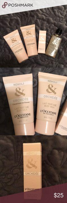 L'occitane assorted products L'occitane assorted products (small sizes) .  2 neroli & orchid body milk 1.6 oz, neroli & orchid eau de toilette .25 oz and jasmine & bergamot shower gel 1.7 oz.  all new! l'occitane Other