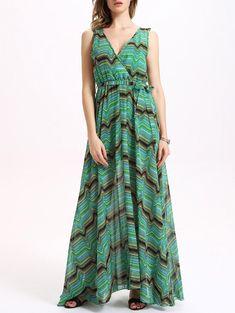 Gorgeous Shades of Green and Black! Elegant Women's Stylish V Neck Sleeveless Stripes Green and Black Print Maxi Dress #Green #Black #Geometric #Geo #Stripes #Maxi_Dresses #Summer_Dresses #Striped_Dresses