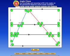 Angle Chase  Complete this self-marking challenge to find all the angles. Use your angles knowledge - right angle, straight angle, angle of revolution, vertically opposite angles, angles formed by transversals on  parallel lines, angle sum of a triangle and quadrilateral. The harder challenges include the interior angles of a polygon and circle theorems. Circle Theorems, Quadrilateral, Math Resources, Angles, Revolution, Triangle, Knowledge, Challenges, Interior