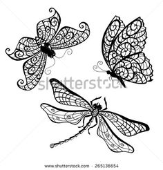 Lace butterfly and dragonfly silhouettes, isolated on white background. Vector illustration