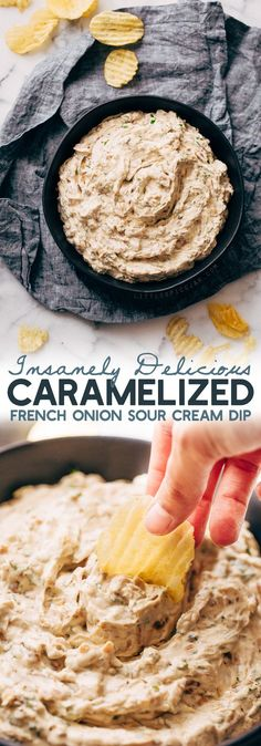 This caramelized onion dip is sure to be a crowd pleaser! The best part is you can make it ahead of time for parties and gatherings! Creamy, cool sour cream and cream cheese, swirls of balsamic caram Dip Recipes, Snack Recipes, Dessert Recipes, Cooking Recipes, Party Recipes, Mexican Recipes, Cooking Tips, Chicken Recipes, Snacks