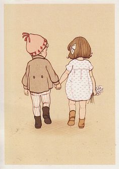 32 Ideas baby girl illustration belle and boo Holding Hands Drawing, Girls Holding Hands, Hold Hands, Belle E Boo, Art Carte, Children's Book Illustration, Vintage Postcards, Cute Drawings, Paper Dolls