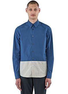 MARNI Men'S Creased Panel Poplin Shirt In Navy And Grey. #marni #cloth #