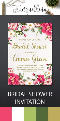 Floral Bridal Shower Invitation Printable, Spring Summer Bridal Shower Invitations, DIY Bridal Invitation, Tropical Party Invite, Pink and Gold Bridal Shower Invite. More boho invitations available at: tranquillina.etsy.com