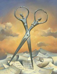 """""""SIEMPRE JUNTOS"""", Pintura surrealista creada por el pintor Vladimir Kush, qué define su arte como realismo metafórico. Mezclando realidad y ficción, al igual qué en los sueños, el autor supongo qué ha querido expresar en ellas su particular mundo surrealista."""