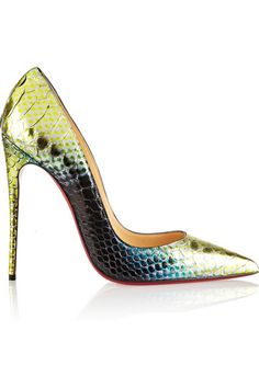 Heel measures approximately 120mm/ 5 inches Green python Slip on Designer color: Mimosa Python: Vietnam