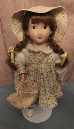 Gorham Holly Hobbie Musical Porcelain Doll Holly Hobbie Anniversary Doll MIB With Doll Stand White Ribbon, Ribbon Bows, Floppy Straw Hat, Pink And Blue Flowers, Holly Hobbie, American Greetings, Doll Stands, China, Cotton Dresses