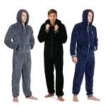 New-Mens-Plain-ONEZEE-Plain-Fleece-Hooded-All-In-One-Jumpsuit-Onesies-Gift-Him-0
