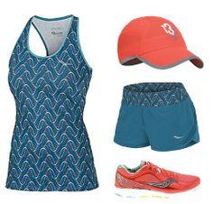 Women's Saucony Pinnacle Short, Print Racerback Tank, Kinvara 5, and Milestone AM Run Cap | Fleet Feet Sports - Chicago