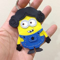 神偷奶爸 2 Despicable Me 2 Minion 小小兵 黃色 Leia版 藍衣服 Dave 手工皮革 鑰匙圈