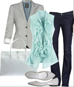 Business casuals: light turquoise blouse, grey jacket, dark wash denim, white handbag, grey flats  { replace mint shirt with coral JCrew blouse; already have darker vers. of Talula blazer; J Brand skinnies}