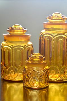 Amber L E Smith Moon and Star Canister Set by amoredolce on Etsy, $80.00