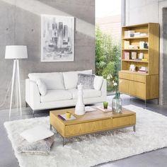 Sofá de 2 plazas fijo de cuero blanco San Francisco