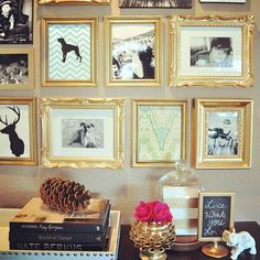 Make a huge impact by painting mismatched frames gold and including silhouettes and fabric remnant or scrapbook paper with black and white photos. Love this!!!
