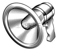 whisper: a black and white illustration of a megaphone
