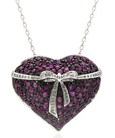 Ruby & Diamond Accent Heart Bow Necklace