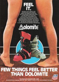 Dolomite Ski Boots Feel it risque Ad Ski Usa, Ski Equipment, Old Boots, Ski Posters, Alpine Skiing, Ski Shop, T Shirt Photo, Ski Chalet, Vintage Ski