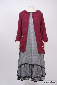 2016  Milton Duster Coat in Rose Striped Gauze Voile.Limited Edition Everett Frock in Inkwell Checked Gauze Cotton.