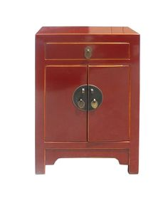 $395 Red Lacquer Round Moon Face End Table  at ebay.com