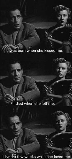 "Humphrey Bogart and Gloria Graham - ""In a Lonely Place"" love this movie"