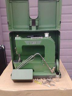 RARE Mint Vintage Green ELNA Grasshopper Sewing Machine Portable Compac Warranty   eBay