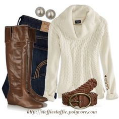 Pearls, Knee Boots & Cowl Neck Sweater
