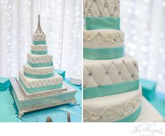 Blue and white wedding cake; Eiffel Tower wedding cake; Paris themed wedding | jbrazeal.com