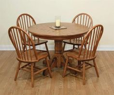 Amish Raleigh Dinette Set Country style pairing of Windsor style chairs and single pedestal table. Built in the solid wood and stain of your choice. Kitchen Table Makeover, Kitchen Decor, Kitchen Design, Amish Furniture, Dining Furniture, Cherry Wood Kitchens, White Painted Furniture, Dinette Sets, Home Kitchens