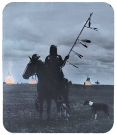 Elk Horn, herald of the Brave Dog Society (poster)    Blackfoot Indians; Montana; Walter McClintock; c. 1895 – 1915; hand colored lantern slide -- http://www.zazzle.com/elk_horn_herald_of_the_brave_dog_society-228389865216991448